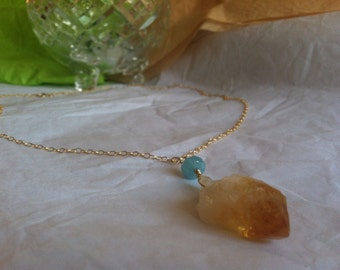Raw Cut Ombre Citrine and Kyanite Gold Pendant Necklace