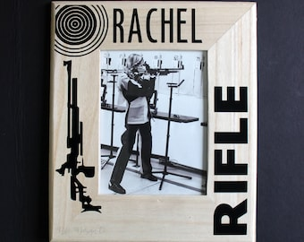 Personalized Solid Wood Rifle Picture Frame with Glass