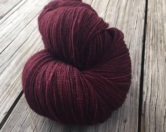 hand dyed lace weight yarn silk yarn Blood Rubies dark red burgandy yarn merino silk 875 yards hand dyed yarn