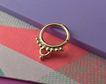 Gold Septum Ring Handmade Daith Piercing Helix Piercing Septum Jewelry Rook Piercing Tragus Piercing Helix Earring Cartilage Earring