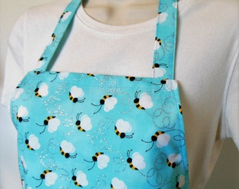 Full Apron - Bumble Bees on Blue Background