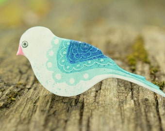 Hand-painted Blue Bird Brooch, Stainless Brooch, Enamel Brooch, Enamel Pin, Enamel Bird Pin, Folk Pattern, Bluebird Pin, Bluebird Brooch