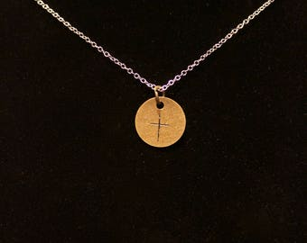 Brass cross hand stamped necklace