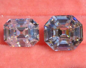 Elongated Antique Asscher Cut Classique Moissanite by Julia B Jewelry, Emerald Cut