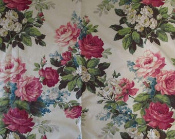 Vintage Barkcloth Fabric Roses Shabby Curtain