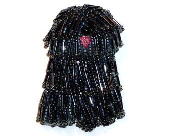 Beaded PULI, KOMONDOR, or BERGAMASCO sheepdog dog art pin pendant - Black, Gray, White, or Brown  (Made to Order)