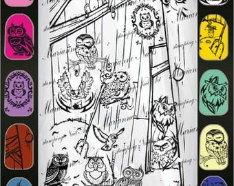 Nail art stamping plate Marianne Nails  owl 113