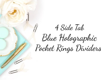 Planner Dividers | Pocket Rings | Blue Holographic