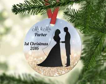 Personalized Christmas Ornament Couples Ornament Mr & Mrs Ornament  Custom Ornament  Porcelain Ornament Wedding Gift