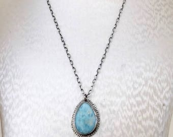 Larimar Tear Drop Necklace- Larimar stone, blue stone, gemstone jewelry, gemstone necklace, Larimar necklace, handmade jewelry, bohemian