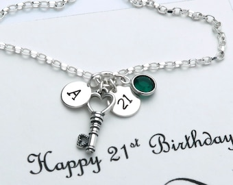 21st Birthday Gift For Her, Birthday Bracelet With Message Card, 21st Gift For Her, Personalised Gift, Sterling Silver Birthstone Bracelet