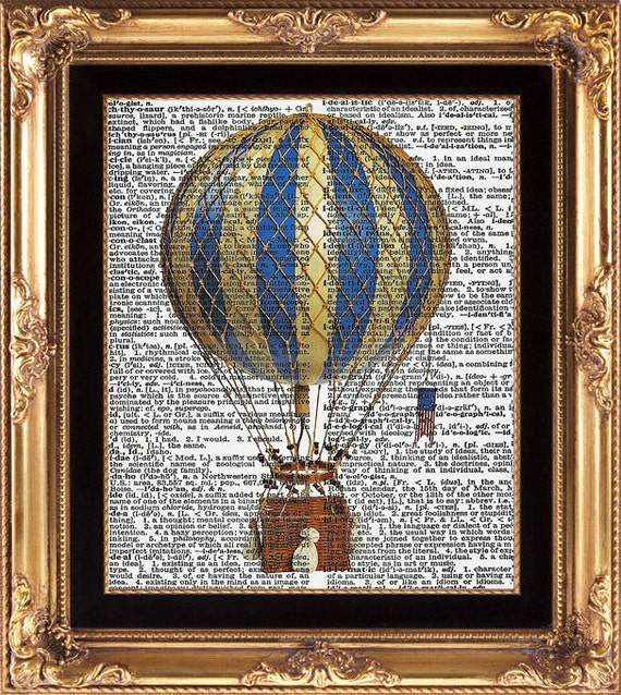 HEIßLUFTBALLON Vintage Wörterbuch Print schöne antike Luft
