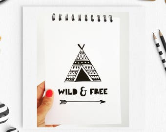 Wild and Free, Typography Notebook, wild & free Pad, scandi Notebook, Quote Notebook, Personalised Notebook, Gift for her, gift for him,