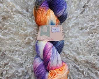 Hand dyed yarn - midnight rave - sock