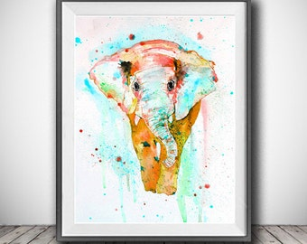 Colorful elephant watercolor painting print, Elephant art, Animal art, Animal watercolor, Animal portrait, Painting, Wall decor, Art