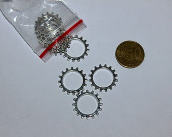 Set of 10 20mm gears, silver charms