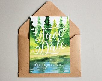 Lake Save the Dates, Lake Wedding, Printable Save the Dates, Save the Date Postcards, Forest Save the Date, Mountain Save the Date