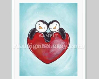 Valentines Day Gift, gifts for him or her, wedding, couples gift, anniversary, love print, penguins One Love