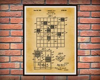 1956 Scrabble Game Patent Print -  Board Game Poster - Game room Decor - Board Game Patent Print -  Scrabble Poster Print
