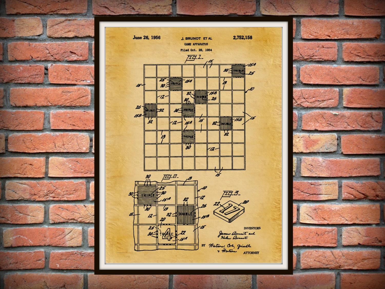 Patent 1956 Scrabble Game Apparatus Art Print Poster Wall