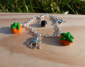 Halloween bracelet child fimo spider witch pumpkin