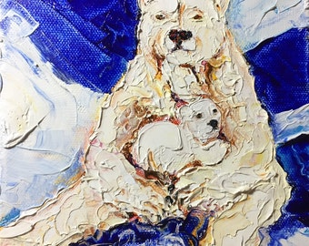 Polar Bear and Cub 6x6 Inch Original Impasto Oil Painting by Paris Wyatt Llanso