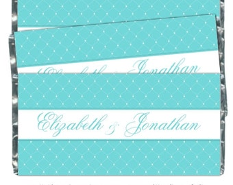 50 Wedding Candy Wrappers, Blue Bridal Shower Candy Wrappers - fit over 1.55 oz chocolate bars - CUSTOM for you, your colors, theme