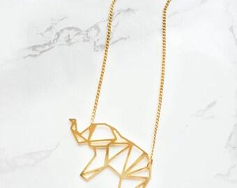 Elephant Necklace Origami, Geometric elephant necklace, VALENTIN DAY, geometric accessories, geometric, animal jewelry, Elephant pendant