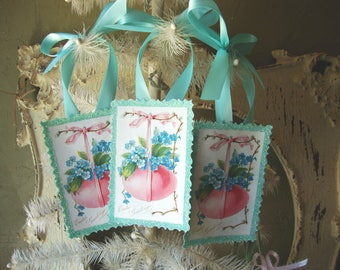 Victorian Easter paper ornaments vintage style Easter flowers and eggs gift tags glittered pink and blue party favors hostess gift
