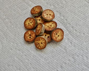 "Wood buttons wooden buttons Oak Tree branch buttons crochet buttons cowl buttons Qty of 10....3/4"" buttons  lot #5"