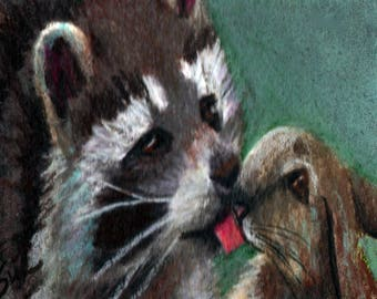 original art  aceo drawing raccoon licking bunny