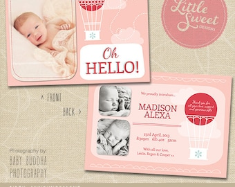 5x7 Birth Announcement Template (Baby Announcement) - Photoshop Template for photographers (BA8G) - INSTANT DOWNLOAD