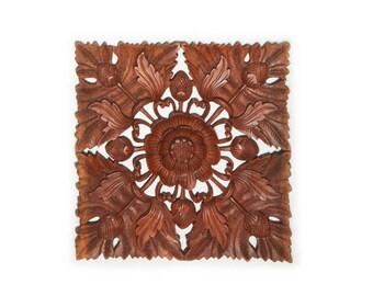 Balinese Wood Carving - Square Blooming Lotus Suar Wood Panel