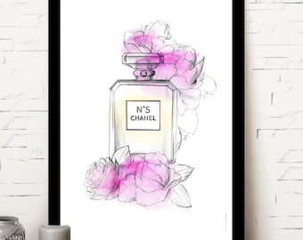 Chanel print, fashion print, chanel N5, flower print