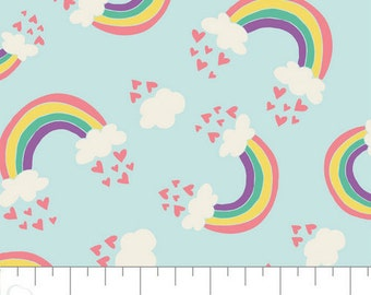 Rainbows and Hearts on Aqua from Camelot Fabric's I Believe in Unicorns Collection by Heather Rosas 100% Cotton cf61170601