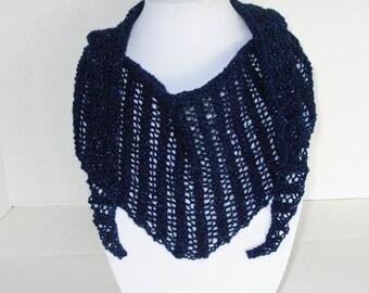 Sapphire Blue Knit Scarf / Knit Blue Lace Scarfette / Blue Sparkly Shawlette