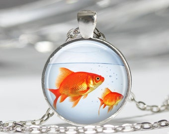 Fish Necklace, Goldfish Bowl, Fish Jewelry, Fish Tank, Aquarium, Fish Bowl Art Pendant in Bronze or Silver with Link Chain Included