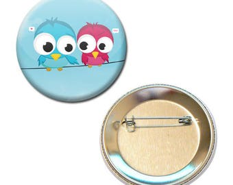 Badge 56 mm - birds in love Love love Valentine's day