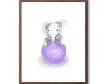 Animal Playroom Art, Baby Girl Decor, Kids Wall Art, Baby Elephant, Watercolor Painting, Playroom Wall Art , Art Print, - E371W