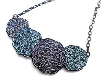 Springtime Chrysanthemum Flowers Necklace - Lavender, Blue and Periwinkle Mum Flowers - Serenity