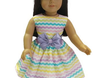 18 inc doll dress Made to fit all dolls like American Girl 18 inch doll clothes pastel colors dress for 18 inch doll dress doll clothes