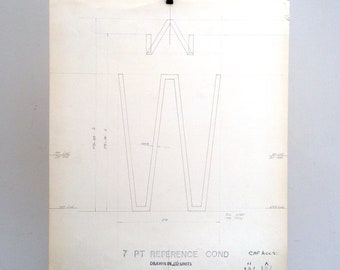 Letter W with accents, industrial drawing, original font casting drawing, typographic drawing: 7pt Reference Cond. 1967