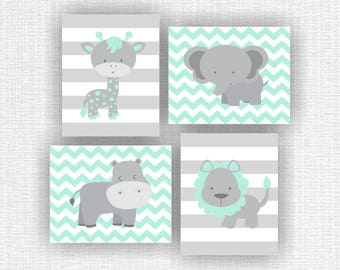 INSTANT DOWNLOAD Pale Mint and Gray Jungle Animals Elephant Giraffe Hippo Lion Chevron  Baby Room wall art decor Set of 4, 8x10