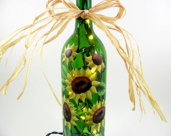Sunflower Lighted Wine Bottle Hand Painted Green 750 ml Bottle