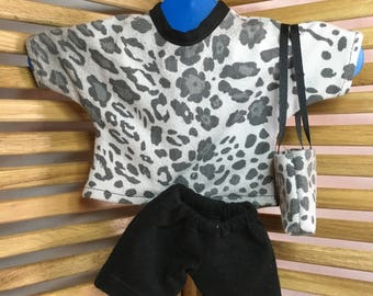 "Clothing for 18"" Dolls - Leopard Top and Purse, Black Shorts"