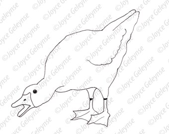 Digital Stamp, Embroidery Design, Angry Goose, Bird, Poultry, Coloring Page, Commercial Use, jpg and png files, Instant Download