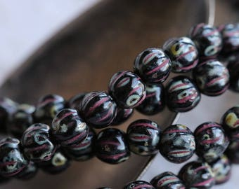 TWILIGHT MELONS No. 2 .. 50 Picasso Czech Melon Beads 4mm (5998-st)