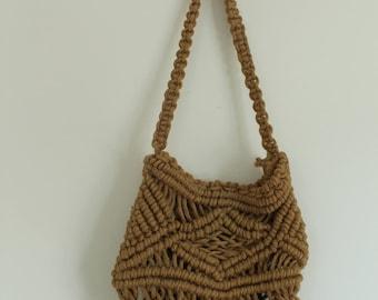Vintage Jute Woven Market Bag / Woven Purse / Macrame Purse / Boho Bag / Bohemian