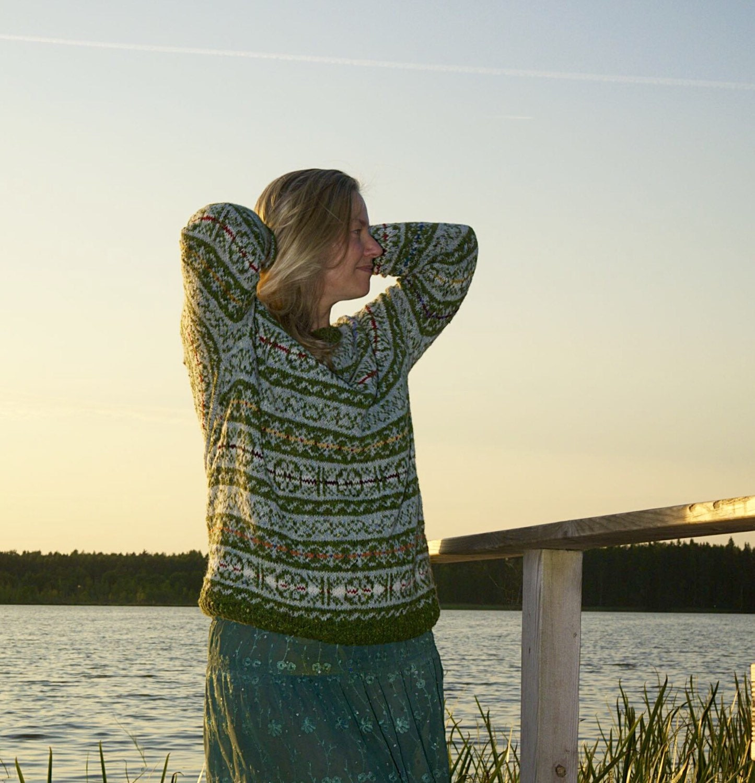 Fair isle pullover norweger pulli gr n grau pullover wolle - Fair isle pullover damen ...
