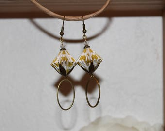 Earrings of Origami paper.